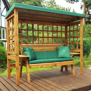 Wentworth Three Seater Wooden Garden Arbour - Green
