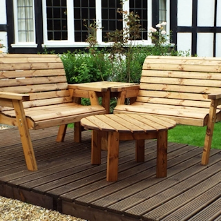 Four Seater Corner Wooden Garden Bench Set