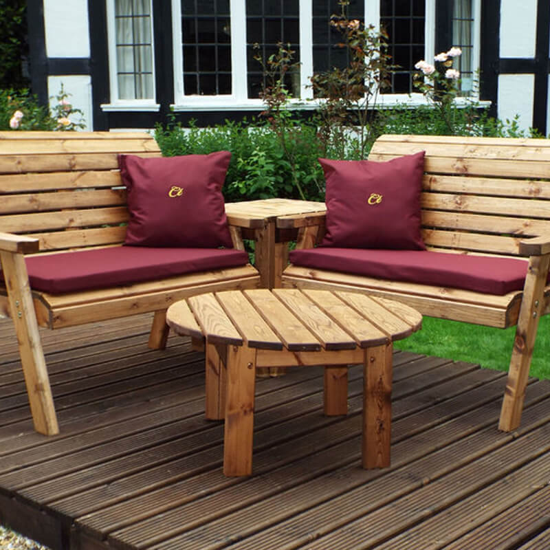 Four Seater Corner Wooden Garden Bench Set with Burgundy Cushions/