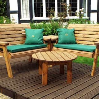 Four Seater Corner Wooden Garden Bench Set with Green Cushions
