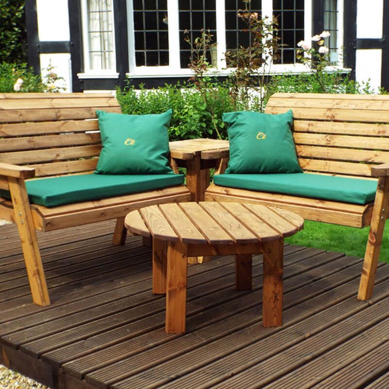 Four Seater Corner Wooden Garden Bench Set with Green Cushions/
