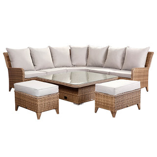 Laytona Large High Back Corner Sofa Set With Rising Table & Benches - Brown