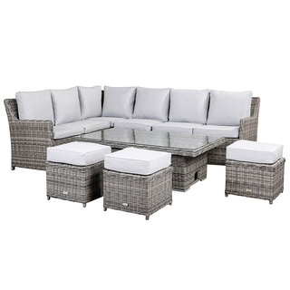 Imola High Back Corner Sofa Set With Rising Table & Three Stools - Grey