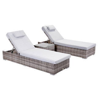 Creole Sun Lounger Set With Side Table - Grey