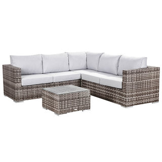 Colette Compact Corner Sofa With Coffee Table - Grey