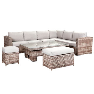 Catalina Corner Sofa Set With Rising Table, Bench & Stool - Brown