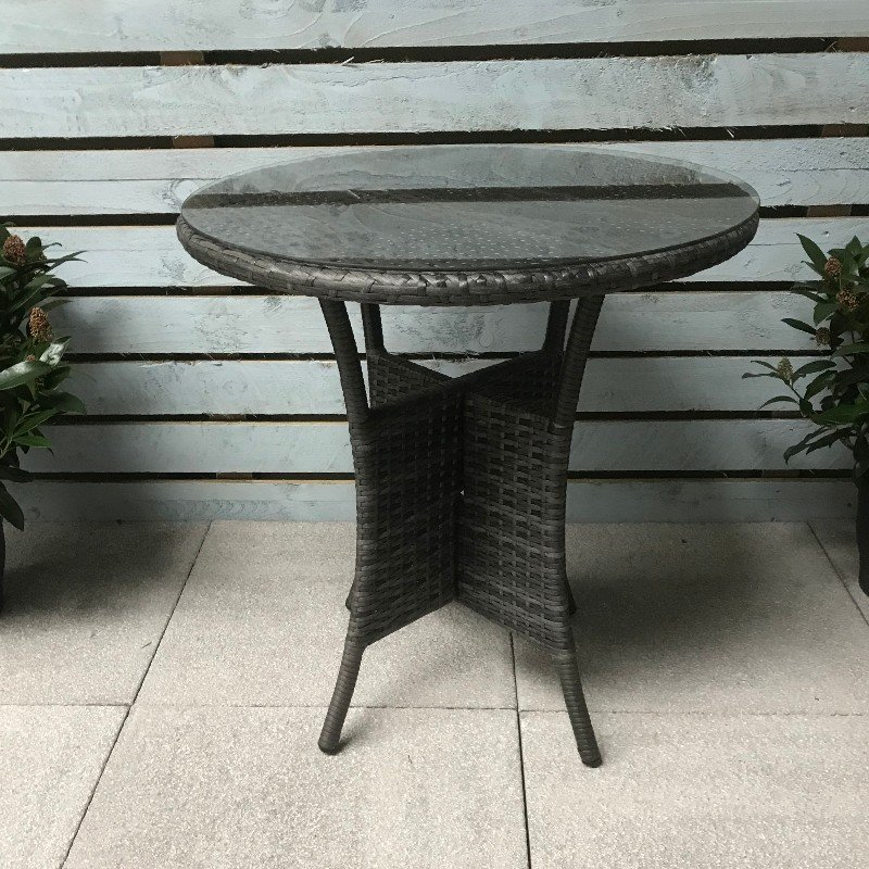 Flat Weave Bistro Table 70cm - Mixed Grey/