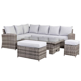 Sloane High Back Corner Sofa Set With Rising Table, Bench & Stool - Grey
