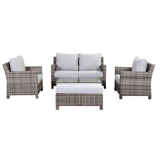 Santa Fe Two Seat Sofa Set With Two Armchairs, Bench & Coffee Table - Grey