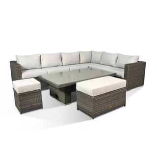 Catalina Corner Sofa Set With Rising Table, Bench & Stool - Grey