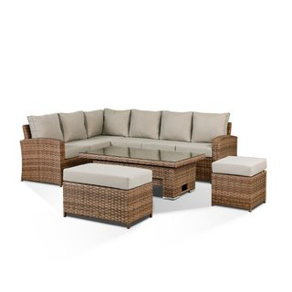 Sloane High Back Corner Sofa Set With Rising Table, Bench & Stool - Brown