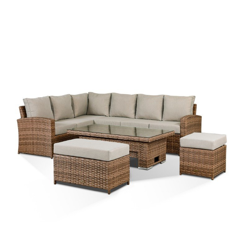 Sloane High Back Corner Sofa Set With Rising Table, Bench & Stool - Brown/