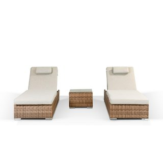 Creole Sun Lounger Set With Side Table - Brown