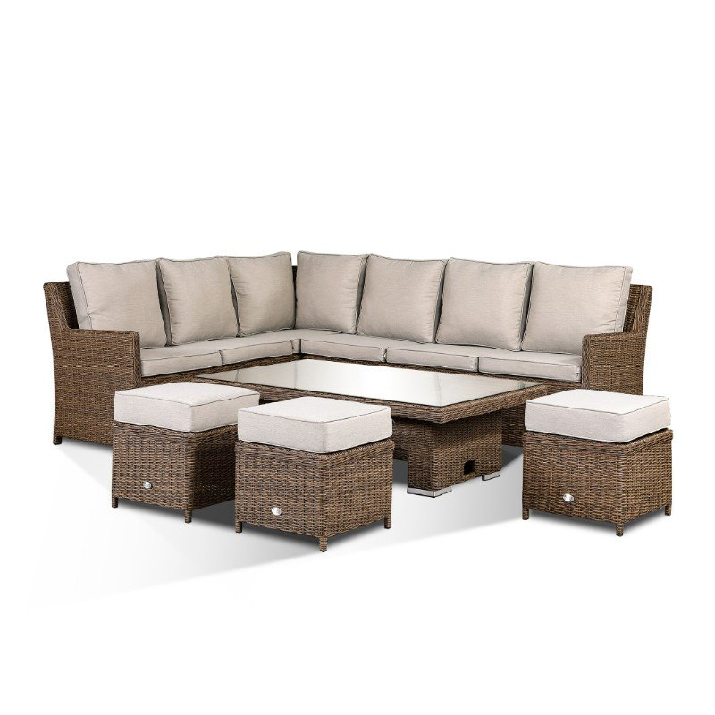 Imola High Back Corner Sofa Set With Rising Table & Three Stools - Brown/