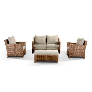 Santa Fe Two Seat Sofa Set With Two Armchairs, Bench & Coffee Table - Brown