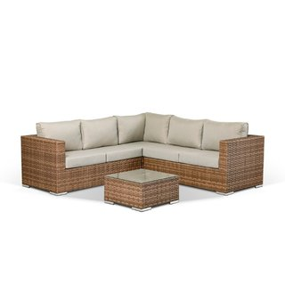 Colette Compact Corner Sofa With Coffee Table - Brown