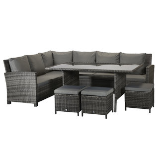 Charlotte Corner Dining Sofa Set - Grey