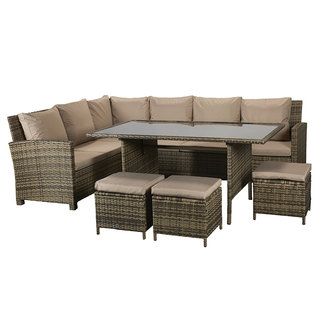 Charlotte Corner Dining Sofa Set - Natural
