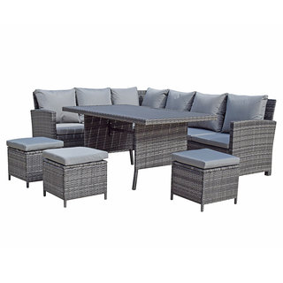 Charlotte Corner Dining Sofa Set With Polywood Table Top - Grey