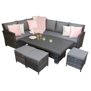 Charlotte Corner Dining Sofa Set With Lift Table & Polywood Table Top - Grey