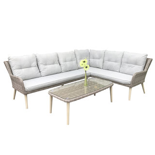Alexandra Corner Sofa Set & Coffee Table With Retro Legs