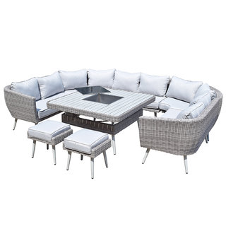 Alexandra U Shape Ten Seat Sofa Dining Set With Fire/Drinks Pit