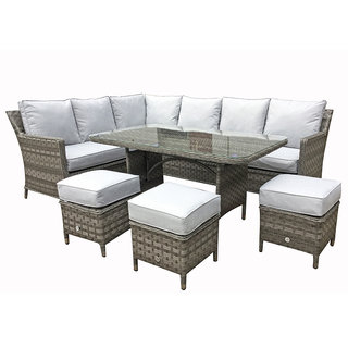 Victoria Seven Seater Corner Dining Set - Grey