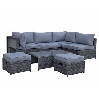 Flat Weave Modular Sofa Set With Storage - Mixed Grey
