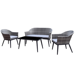 Della 4 Seat Sofa Set With Coffee Table - Grey