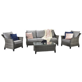 Flat Weave Five Seat Sofa Set - Mixed Grey