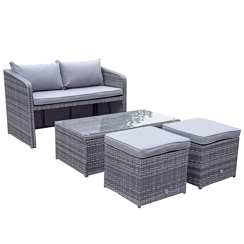 Flat Weave Gemma Compact Stacking Sofa Set With 2 Ottomans & Lift Up Coffee Table - Mixed Grey/
