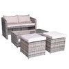 Flat Weave Gemma Compact Stacking Sofa Set With 2 Ottomans & Lift Up Coffee Table - Mixed Brown/