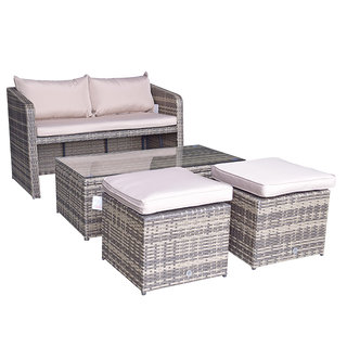 Flat Weave Gemma Compact Stacking Sofa Set With 2 Ottomans & Lift Up Coffee Table - Mixed Brown