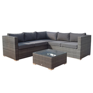 Flat Weave Georgia Compact Corner Sofa Set With Coffee Table - Mixed Grey
