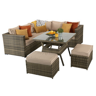 Flat Weave Georgia Compact Corner Dining Set With Benches - Mixed Brown