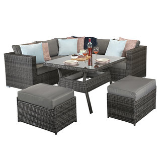 Flat Weave Georgia Compact Corner Dining Set With Benches - Mixed Grey
