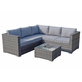 Flat Weave Georgia Corner Sofa With Ice Bucket In Coffee Table - Grey