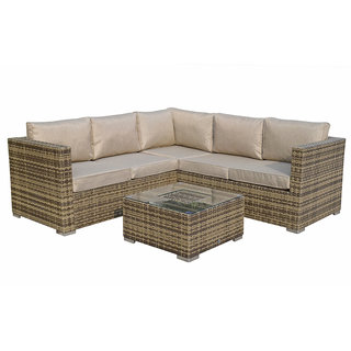 Flat Weave Georgia Corner Sofa With Ice Bucket In Coffee Table - Brown