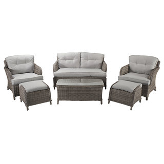 Alexandra Four Seat Sofa Set With Footstools