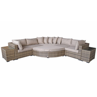 Flat Weave Jessica Corner Sofa With Corner Extension & End Tables - Mixed Brown