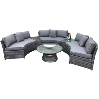 Flat Weave Half Moon Sofa Set - Mixed Grey