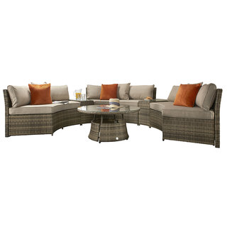 Flat Weave Half Moon Sofa Set - Mixed Brown