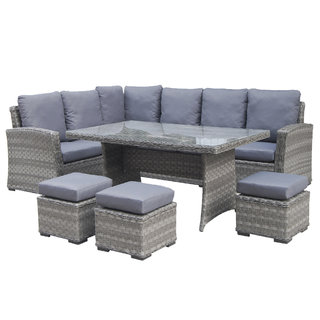 Victoria Eight Seater Corner Dining Set - Grey
