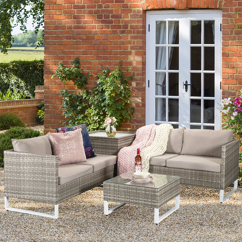 Lucy Corner Sofa Set - Light Grey/