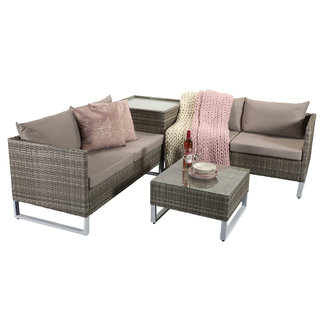 Lucy Corner Sofa Set - Light Grey