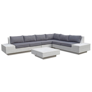 Mauritius Corner Sofa With Aluminium Tables - White
