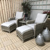 Florence 5 Piece Lounge Set With Ottoman Stools & Table - Caramel/