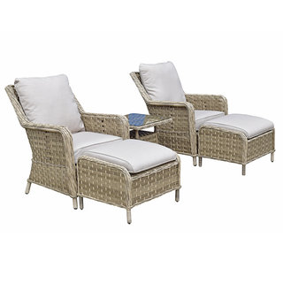 Florence 5 Piece Lounge Set With Ottoman Stools & Table - Caramel