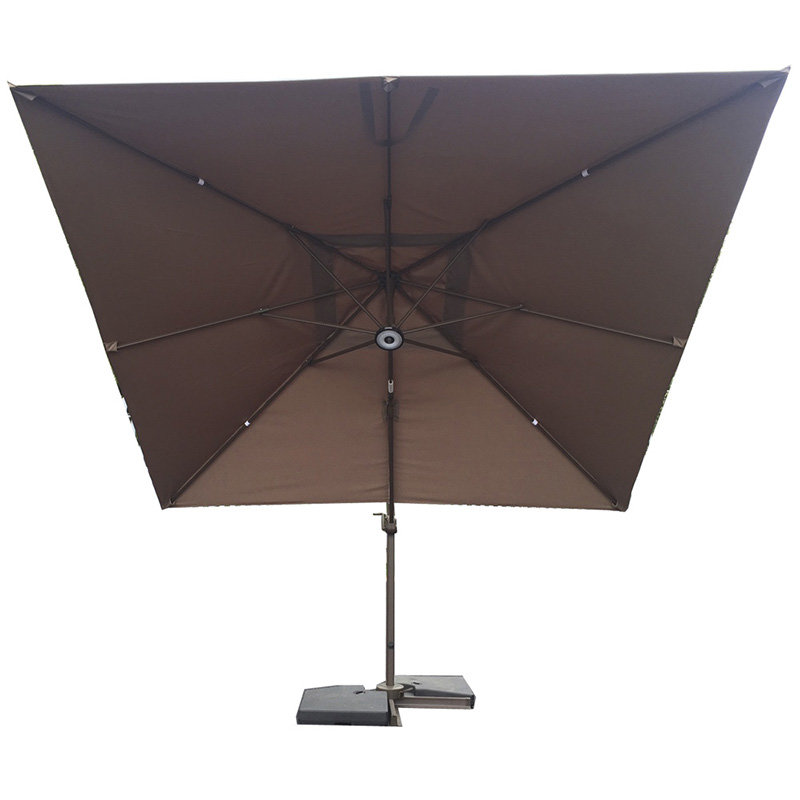 3x3m Square Cantilever Parasol - Chocolate/