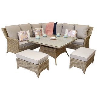 Sarah Corner Dining Set - Natural / Beige